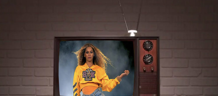 Beyoncé performing at Coachella through an old tv set