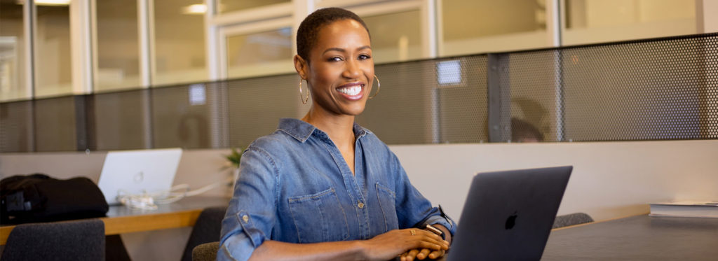 Candace Doby at computer