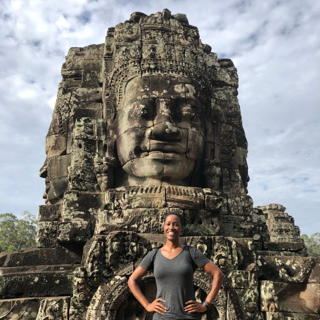 Candace at the Bayon temple in Siem Reap, Cambodia