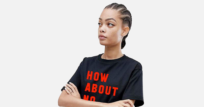 """girl with arms crossed wearing """"how about no"""" tshirt"""